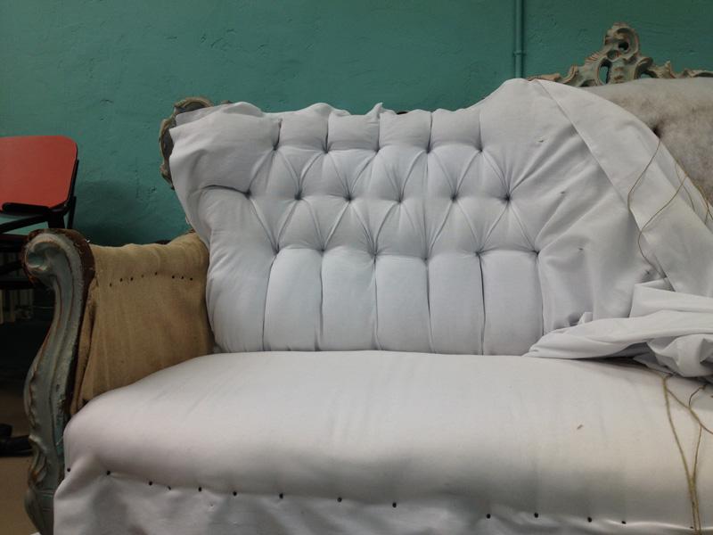 Bank stofferen antiek ambachtelijke meubelstoffeerder abb